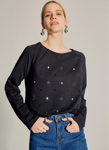 NGSTYLE Taş İşlemeli Sweatshirt Siyah